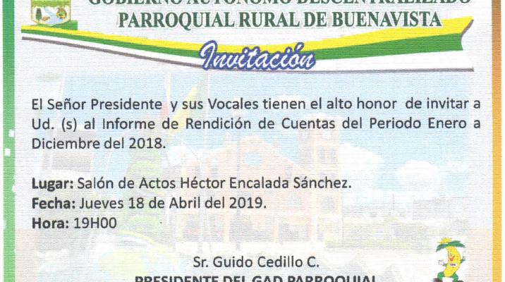 INVITACIÓN A RENDICIÓN DE CUENTAS DEL GOBIERNO PARROQUIAL A LA COMUNIDAD.